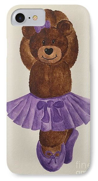 IPhone Case featuring the painting Leah's Ballerina Bear 3 by Tamir Barkan