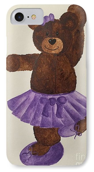 IPhone Case featuring the painting Leah's Ballerina Bear 4 by Tamir Barkan