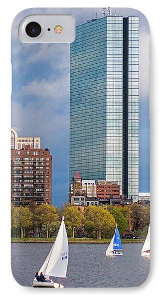 Lean Into It- Sailboats By The Hancock On The Charles River Boston Ma IPhone Case by Toby McGuire