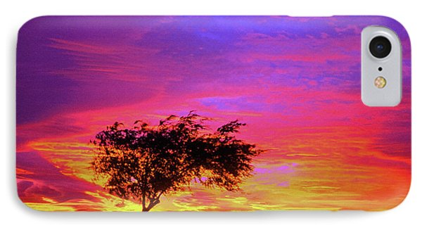 Leaning Tree At Sunset IPhone Case by Bob and Nadine Johnston