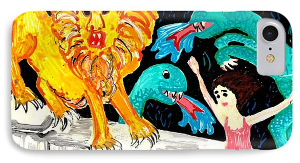 Leap Away From The Lion Phone Case by Sushila Burgess