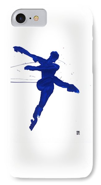 IPhone Case featuring the painting Leap Brush Blue 1 by Shungaboy X