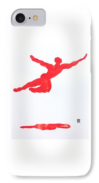 IPhone Case featuring the painting Leap Water Vermillion by Shungaboy X