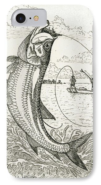 IPhone Case featuring the drawing Leaping Tarpon by Charles Harden