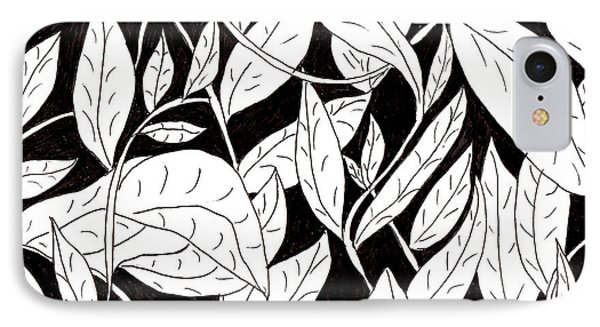 IPhone Case featuring the drawing Leaves by Lou Belcher
