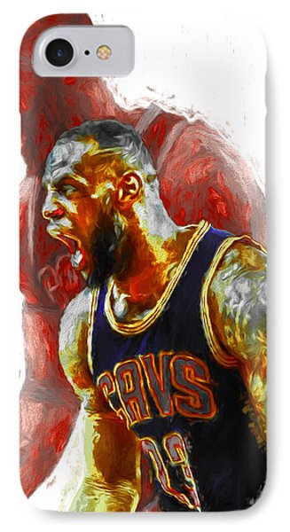 Lebron James 23 1 Cleveland Cavs Digital Painting IPhone Case by David Haskett