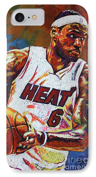 Lebron James 3 IPhone 7 Case by Maria Arango