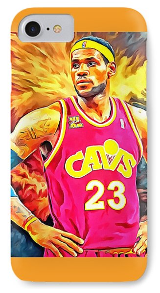 Lebron James Basketball Art Portrait Painting IPhone Case