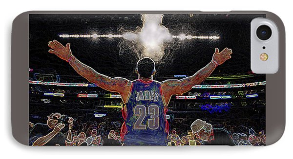 Lebron James Chalk Toss Basketball Art Landscape Painting IPhone Case