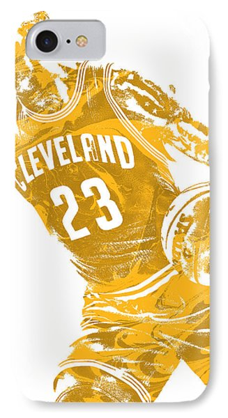 Lebron James iPhone 7 Case - Lebron James Cleveland Cavaliers Pixel Art 20 by Joe Hamilton