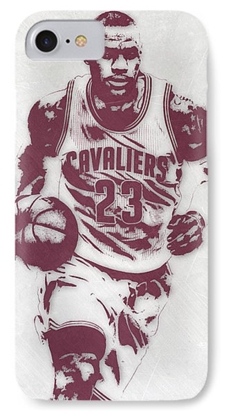 Lebron James iPhone 7 Case - Lebron James Cleveland Cavaliers Pixel Art 4 by Joe Hamilton