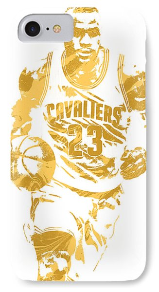 Lebron James iPhone 7 Case - Lebron James Cleveland Cavaliers Pixel Art 7 by Joe Hamilton