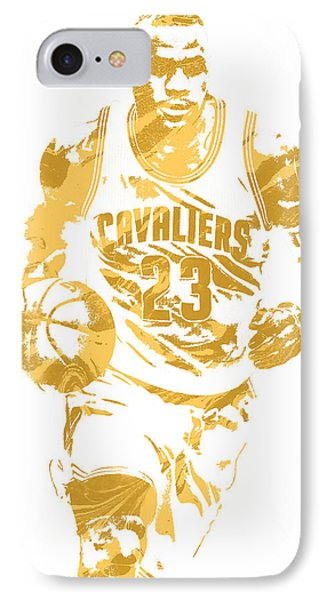 Lebron James Cleveland Cavaliers Pixel Art 7 IPhone Case by Joe Hamilton