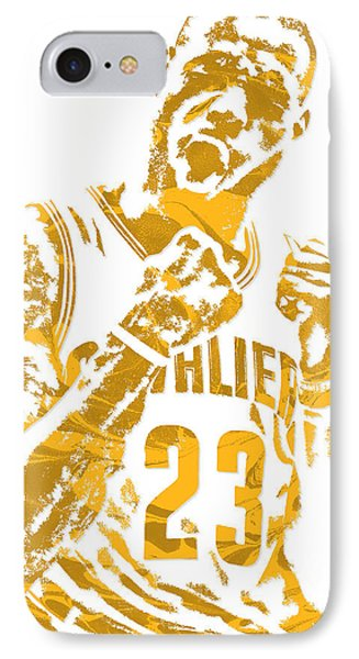 Lebron James iPhone 7 Case - Lebron James Cleveland Cavaliers Pixel Art 9 by Joe Hamilton