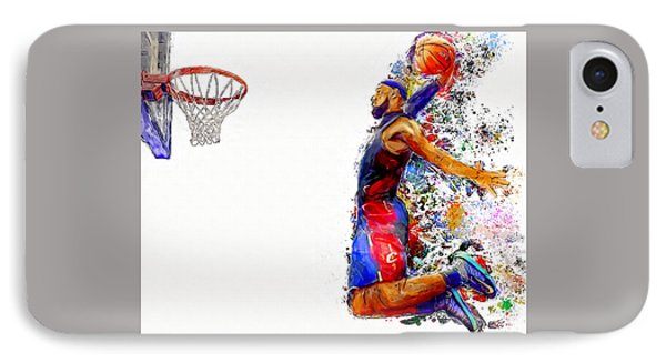 Lebron James Dunk In Color Painting IPhone Case