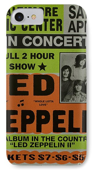 Led Zeppelin Live In Concert At The Baltimore Civic Center Poster IPhone Case