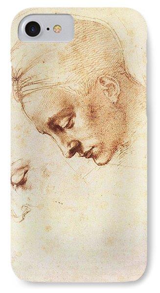 Leda's Head, Study IPhone Case by Michelangelo Buonarroti
