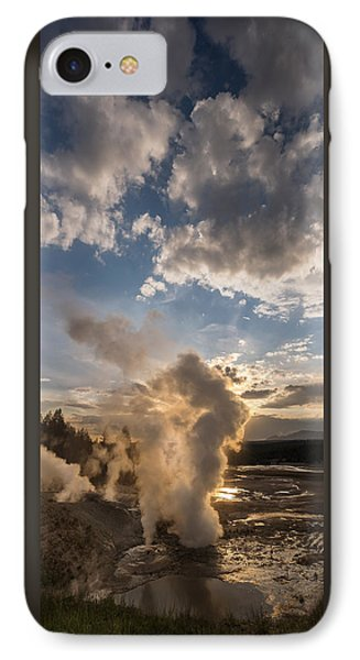 Ledge Geyser Yellowstone N P IPhone Case by Steve Gadomski