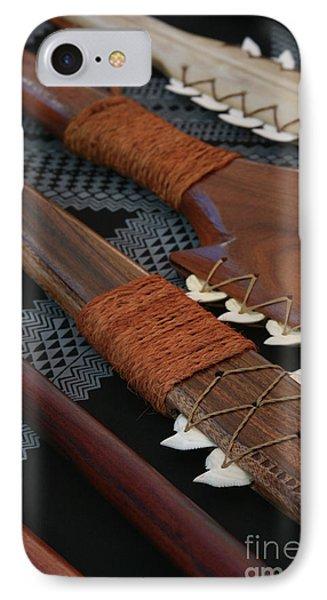 Lei O Mano Hawaiian Koa Shark Teeth Dagger And War Clubs Phone Case by Sharon Mau