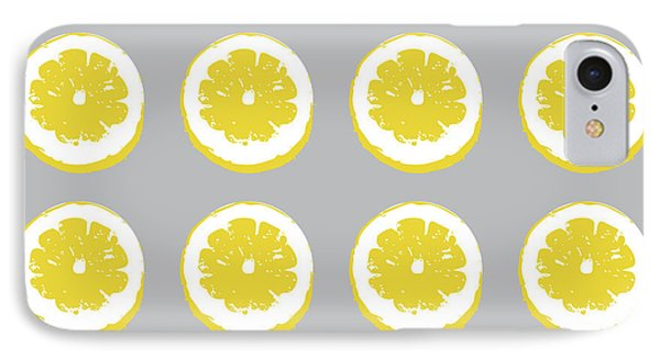 Lemon Slices On Grey- Art By Linda Woods IPhone Case by Linda Woods