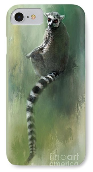 Lemur Catching Rays IPhone Case by Kathy Russell