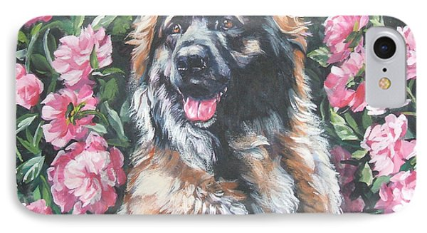 Leonberger In The Peonies Phone Case by Lee Ann Shepard