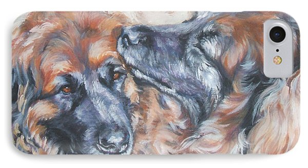 Leonberger Pair IPhone Case by Lee Ann Shepard