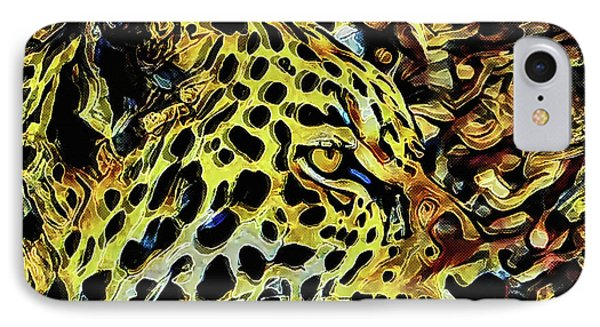 IPhone Case featuring the painting Leopard Abstract  by David Mckinney