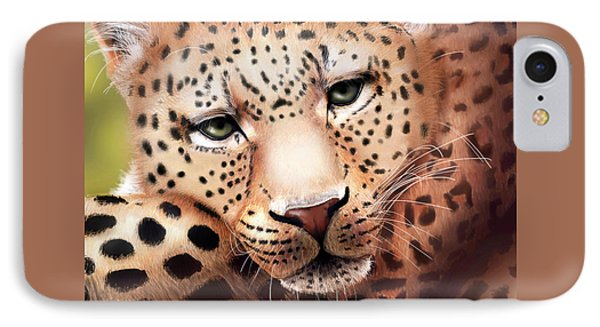 Leopard Resting IPhone Case by Angela Murdock