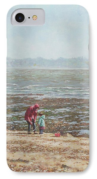 IPhone Case featuring the painting Lepe Beach Windy Winter Day by Martin Davey