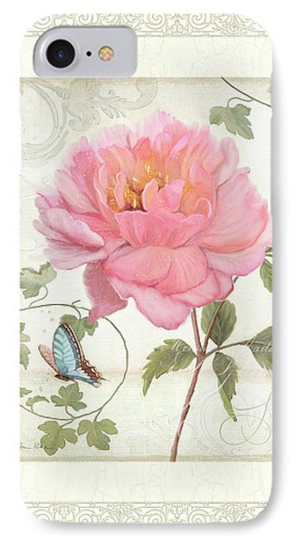 Les Fleurs Magnifiques II - Pink Peony W Vines N Butterfly  IPhone Case by Audrey Jeanne Roberts