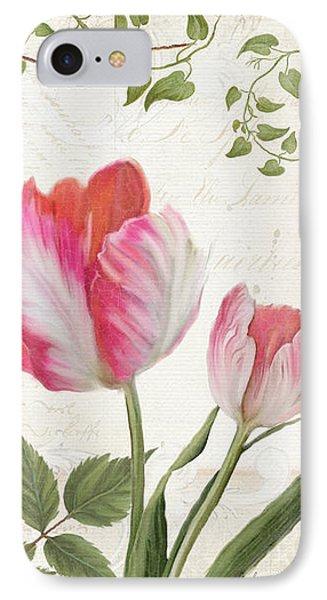 Les Magnifiques Fleurs I - Magnificent Garden Flowers Parrot Tulips N Indigo Bunting Songbird IPhone 7 Case by Audrey Jeanne Roberts