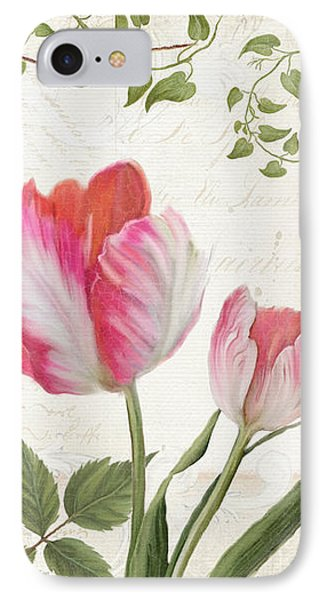 Les Magnifiques Fleurs I - Magnificent Garden Flowers Parrot Tulips N Indigo Bunting Songbird IPhone Case by Audrey Jeanne Roberts
