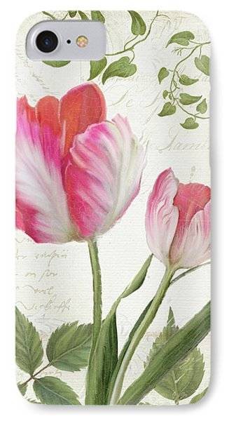 Les Magnifiques Fleurs IIi - Magnificent Garden Flowers Parrot Tulips N Indigo Bunting Songbird IPhone 7 Case by Audrey Jeanne Roberts