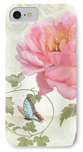 Les Magnifiques Fleurs Iv - Magnificent Garden Flowers Pink Peony N Blue Butterfly IPhone Case by Audrey Jeanne Roberts