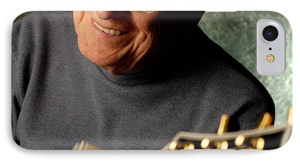 Les Paul With His White Gibson Les Paul Custom Guitar By Gene Martin IPhone Case