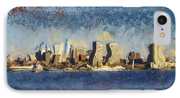 IPhone Case featuring the mixed media Less Wacky Philly Skyline by Trish Tritz