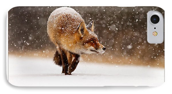 Let It Snow 2 - Christmas Card Red Fox In The Snow IPhone Case by Roeselien Raimond