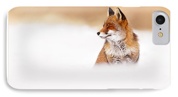 Let It Snow 3 - Christmas Card Red Fox In The Snow IPhone Case by Roeselien Raimond
