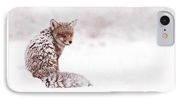 Let It Snow 4 - Christmas Card Red Fox In The Snow IPhone Case by Roeselien Raimond