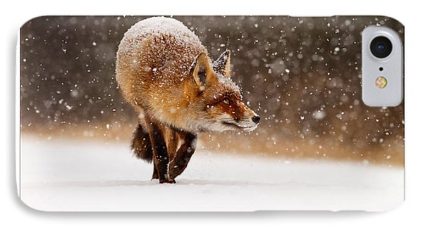 Let It Snow 4 - New Years Card Red Fox In The Snow IPhone Case by Roeselien Raimond