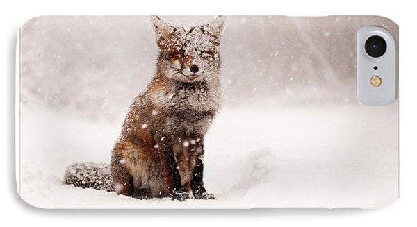 Let It Snow 6 - Christmas Card Red Fox In The Snow IPhone Case by Roeselien Raimond
