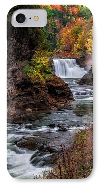 Letchworth State Park Lower Falls IPhone Case by Mark Papke