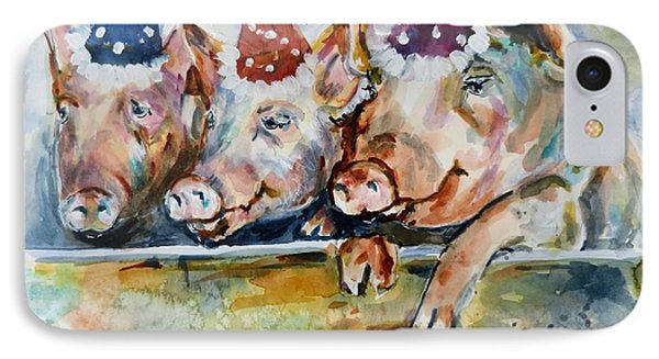 Let's Have A Piggy Party IPhone Case by P Maure Bausch