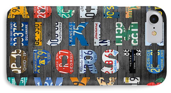 Letters Of The Alphabet Recycled Vintage License Plate Art With Apple Colorful School Nursery Kids Room Print Phone Case by Design Turnpike