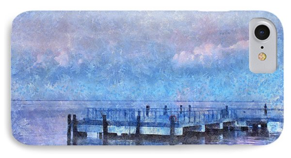 IPhone Case featuring the mixed media Lewes Pier by Trish Tritz