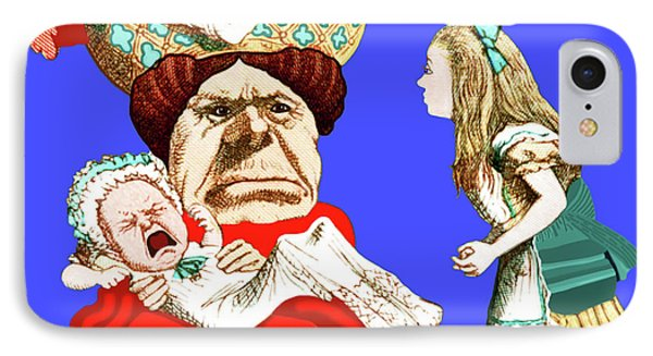 IPhone Case featuring the painting Lewis Carrolls Alice, Red Queen And Crying Infant by Marian Cates