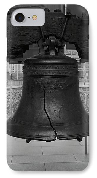 IPhone Case featuring the digital art Liberty Bell Bw by Chris Flees