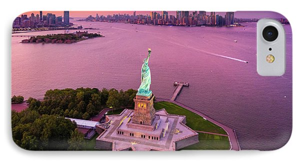 Liberty Island Twilight IPhone Case by Inge Johnsson