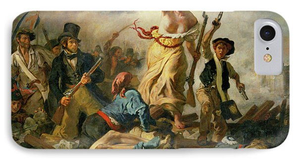 IPhone Case featuring the painting Liberty Leading The People By Eugene Delacroix 1830 by Movie Poster Prints